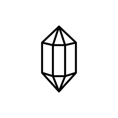 Hexagonal diamond outline icon is a simple trendy style.