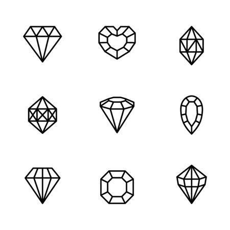 Set of Gemstone icons in a linear minimal style. Illusztráció
