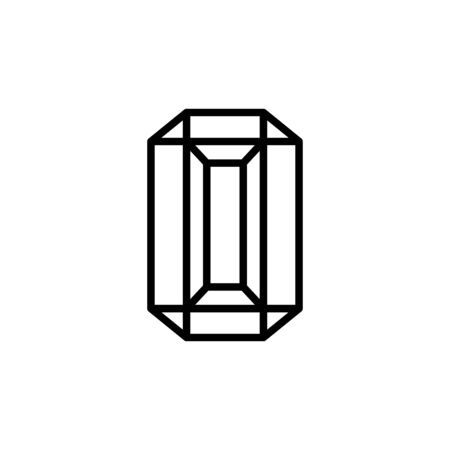 Rectangular diamond outline icon is a simple trendy style. Illusztráció