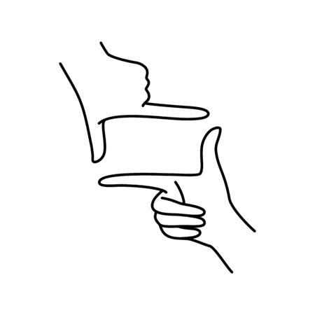Female hands make a gesture frame. Ilustração