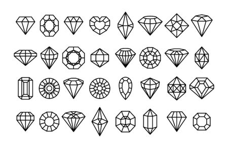 Big set of Gemstone icons in a linear minimal style.