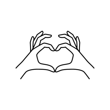 Two female hands make a heart Gesture linear icon. Illusztráció