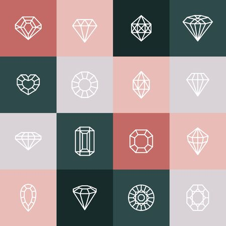 Diamonds and Gems line Icons set.