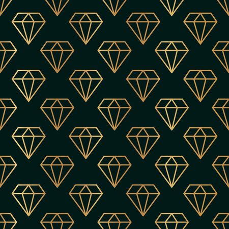 Gemstone Seamless pattern in minimal trendy style. Gold linear diamonds on a dark green background.