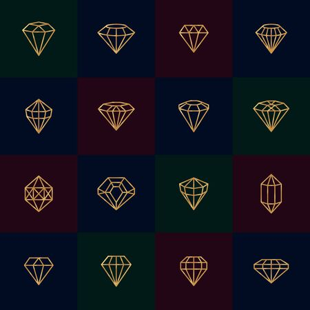 Diamonds gold line icons on dark background. Vector crystal and gems linear design elements. Luxury and premium symbols in a minimal style Illusztráció