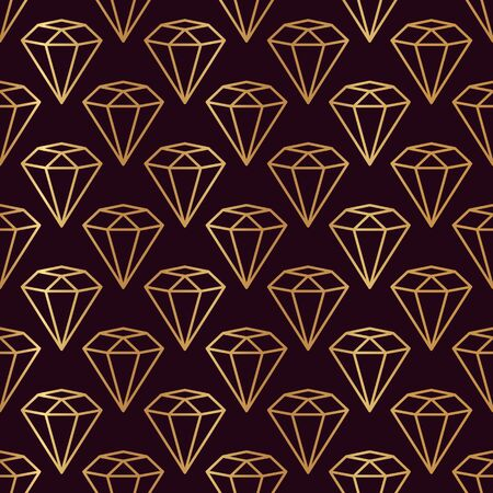 Hexagonal Gemstone Seamless pattern in minimal trendy style. Gold linear diamonds on a dark burgundy background. Vector Abstract geometric texture for paper, cards, invitations, fabric.