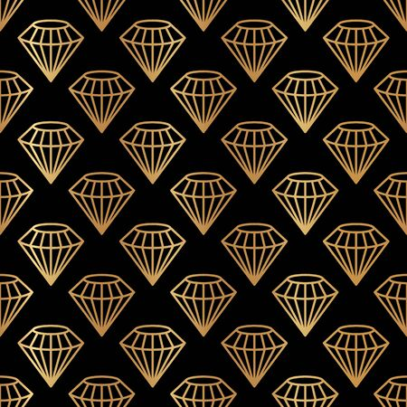 Hexagonal Gemstone Seamless pattern in minimal trendy style. Gold linear diamonds on a black background. Vector Abstract geometric texture for paper, cards, invitations, fabric.