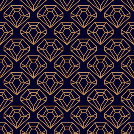 Gemstone Seamless pattern in minimal trendy style. Gold linear diamonds on a dark purple background. Vector Abstract geometric texture for paper, cards, invitations, fabric.