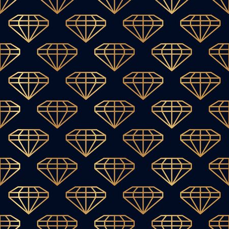 Gemstone Seamless pattern in minimal trendy style. Gold linear diamonds on a dark blue background. Vector Abstract geometric texture for paper, cards, invitations, fabric. Illusztráció