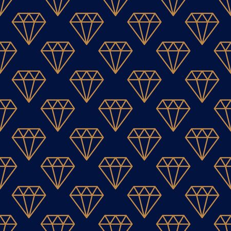 Gemstone Seamless pattern in minimal trendy style. Gold linear diamonds on a dark blue background. Vector Abstract geometric texture for paper, cards, invitations, fabric. Illustration