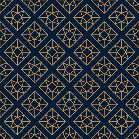 Square Gemstone Seamless pattern in minimal trendy style. Gold linear diamonds on a dark blue background. Vector Abstract geometric texture for paper, cards, invitations, fabric.