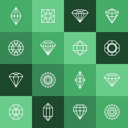 Diamonds and Gems line Icons set. Vector crystal and jewel linear design elements. Luxury and premium symbols in a minimal style Illusztráció