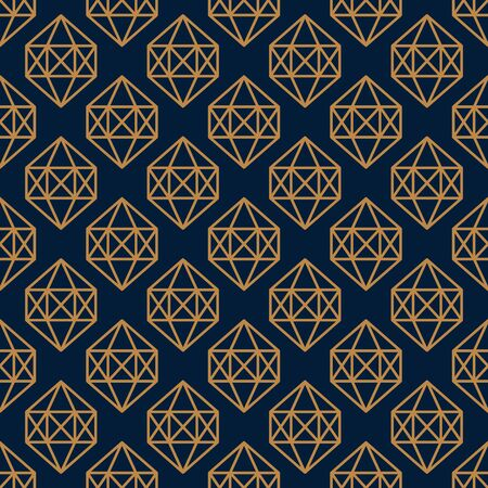 Hexagonal Gemstone Seamless pattern in minimal trendy style. Gold linear diamonds on a dark blue background. Vector Abstract geometric texture for paper, cards, invitations, fabric.