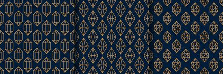 Set of three Gemstone Seamless pattern in minimal trendy style. Gold linear diamonds on a dark blue background. Vector Abstract geometric texture for paper, cards, invitations, fabric.