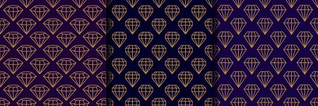 Set of three Gemstone Seamless pattern in minimal trendy style. Gold linear diamonds on a dark purple background. Vector Abstract geometric texture for paper, cards, invitations, fabric. Illusztráció