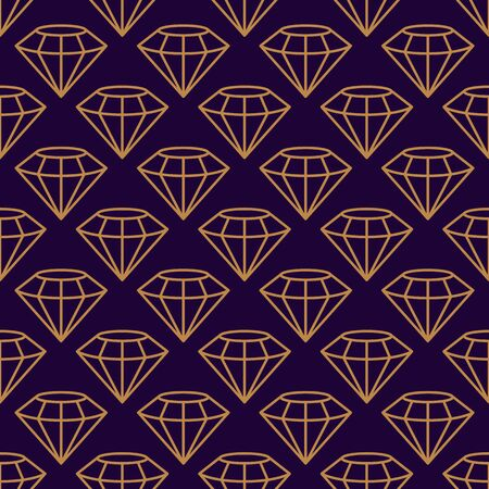 Hexagonal Gemstone Seamless pattern in minimal trendy style. Gold linear diamonds on a dark purple background. Vector Abstract geometric texture for paper, cards, invitations, fabric.