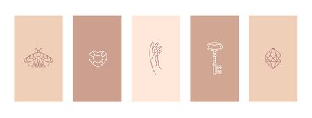 Set pink and nude stories highlights covers outline a butterfly, diamond, hand and key. Abstract Mobile Backgrounds in minimal trendy style templates for social media stories. Vector Illusztráció