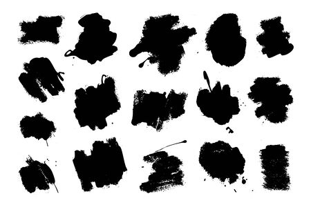 Collection of ink Brush Strokes. Set of vector Grunge Brushes. Dirty textures of banners, boxes, frames and design elements. Painted objects Isolated on white background Illusztráció