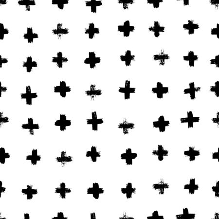 Plus signs and crosses seamless pattern of brush strokes. Vector monochrome grunge texture from X. Scandinavian background for printing on textiles, paper, Wallpaper, print on t-shirts Illusztráció