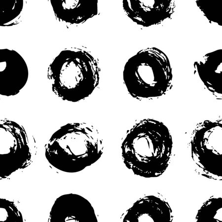 Seamless polka dot pattern hand drawn with a brush. Vector Monochrome Grunge texture of circles. Scandinavian background in a simple style for printing on textiles, paper, Wallpaper, print on t-shirts
