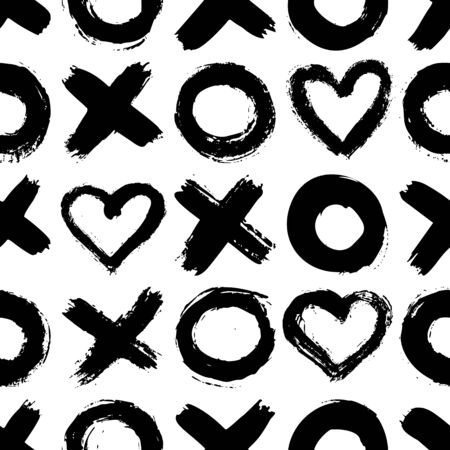 XOXO seamless pattern. Vector Abstract background with ink brush strokes. Monochrome Scandinavian hand drawn print. Grunge texture with simbols of zero, cross and heart.