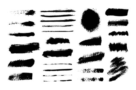 Collection of ink line Brush Strokes. Set of vector Grunge Brushes. Dirty textures of banners, boxes, frames and design elements. Painted objects Isolated on white background