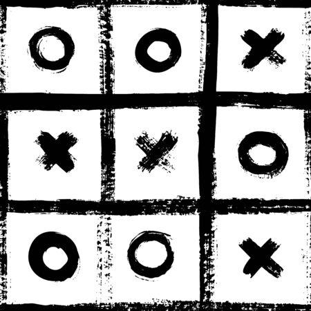 Modèle sans couture de tic tac toe. Texture grunge abstraite dessinée à la main avec des coups de pinceau. Fond scandinave monochrome de vecteur dans un style simple pour l'impression sur textiles, papier, papier peint, t-shirts