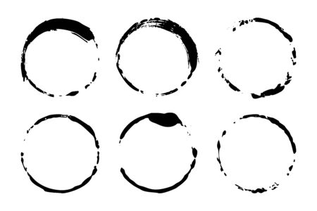 Set of grunge circles of wine or coffee stains. Vector round shapes. Dirty textures of banners, boxes, frames and design elements. Painted objects Isolated on white background Illusztráció