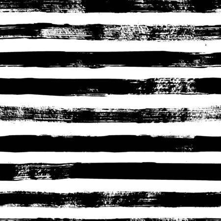 Grunge strips seamless pattern. Abstract texture hand drawn with a ink brush strokes. Vector Monochrome Scandinavian background in a simple style for print on textiles, paper, Wallpaper, t-shirts Vetores