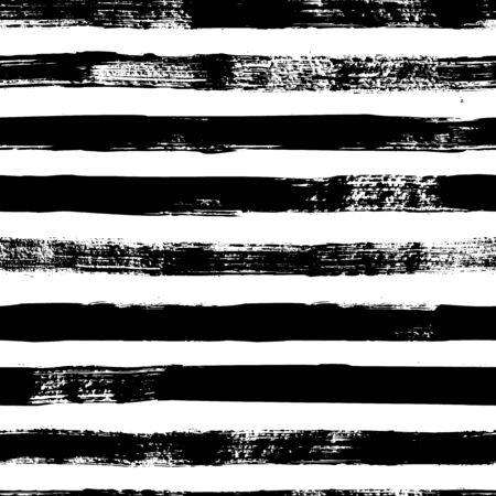 Modèle sans couture de bandes grunge. Texture abstraite dessinée à la main avec des coups de pinceau d'encre. Fond scandinave monochrome de vecteur dans un style simple pour l'impression sur textiles, papier, papier peint, t-shirts Vecteurs