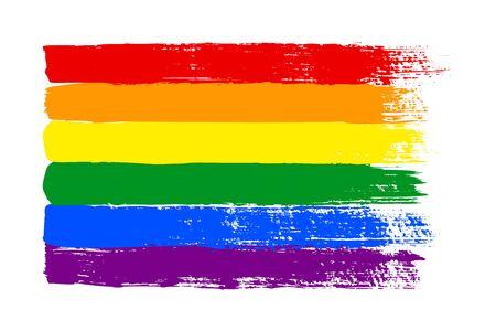 Drapeau de fierté LGBT grunge. Texture abstraite du drapeau arc-en-ciel dessinée à la main avec une encre. Fond multicolore de vecteur de rayures horizontales de coup de pinceau dans un pour l'impression sur des textiles, des t-shirts et un site Web.