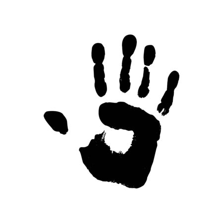 Grunge handprint in black ink. Vector Icon human palm isolated on white background. Abstract symbol Illustration