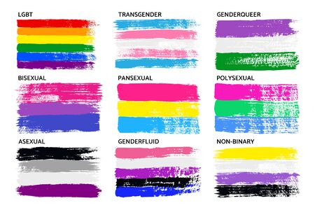 Grunge LGBT Pride Flag Collection Lesbian, Gay, Bisexual, Pansexual, Asexual, Genderfluid, Genderqueer, Polysexual, Non-binary . Set of Symbols for People of Different Sexual Orientations. Vector