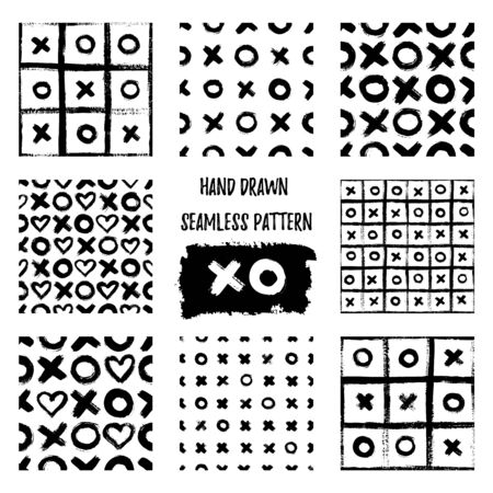 Set of XOXO seamless patterns. Vector Abstract backgrounds with ink brush strokes. Monochrome Scandinavian hand drawn print. Grunge texture with simbols of zero, cross and heart. Ilustração