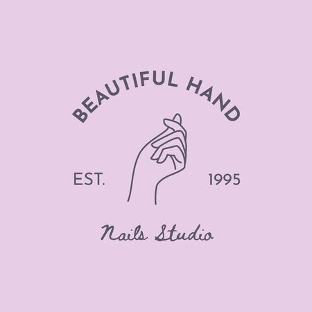 Vector Emblem with a Female Hand in a Trendy minimalist Linear style. Beauty Salon or Nail studio. Template for business card, packaging hand cream or nail Polish, nail, soap, beauty store.
