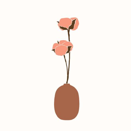 Art collage of cotton flowers in a vase in a minimalistic trendy style. Silhouette of a cotton branch in a simple abstract style. Vector illustration for print t-shirts, cards, posters, social media Banque d'images - 140907707