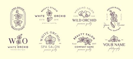 Set Orchid design templates in simple minimal linear style. Vector floral emblem and icon for Beauty Salon, SPA, Wedding Boutiques, Photographers, fashion store, flower shop