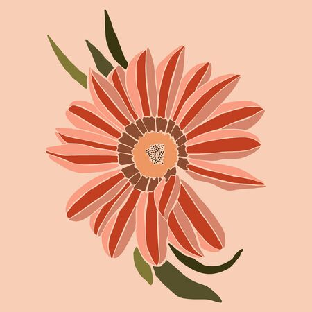 Art collage gazania flower in a minimal trendy style. Silhouette of flower in a contemporary simple abstract style on a pink background. Vector illustration For t-Shirt Print, card, poster, flyer