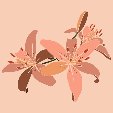 Art collage lily flower in a minimal trendy style. Silhouette of lily plants in a contemporary simple abstract style on a pink background.