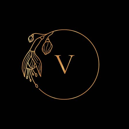 Gold frame template Fuchsia Flower and monogram concept with the letter V in minimal linear style. Vector floral with copy space for text. Emblem for Cosmetics, Wedding, Fashion, Beauty