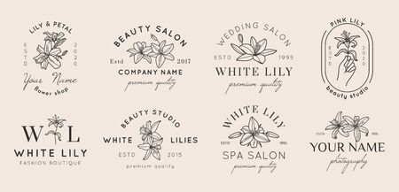 Set of Feminine with Lily flowers in simple minimal linear style. Vector floral emblem and icon for Beauty Salon, SPA, Wedding Boutiques, Photographers, fashion store, flower shop