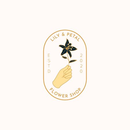 Flower Shop  in a minimal linear style. Vector emblem with a female hand holding a Lily flower. Feminine Badge for nail Studio, hair salon, Spa Vectores
