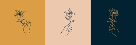 A set of Female Hand  in a minimalist simple linear style. Vector emblems and Badges with a woman's hand and Lily flowers. Feminine icon for Studio a nail and hair salon, Spa