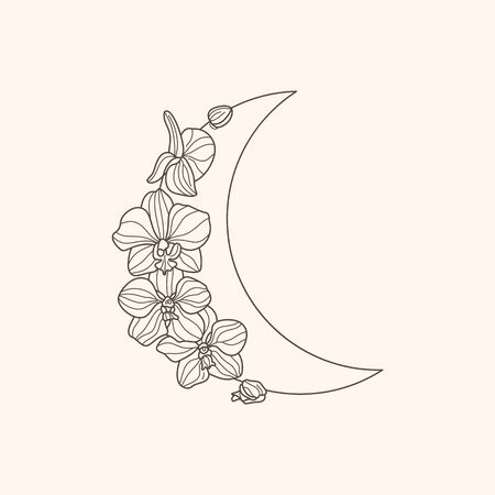 Crescent moon of orchid flowers in a trendy minimal linear style. Vector floral outline icon. Tattoo design,   wedding invitation, greeting card Vectores