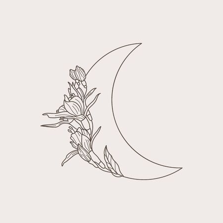 Crescent moon of flowers in a trendy minimal linear style. Vector floral outline icon. Tattoo design,   wedding invitation, greeting card