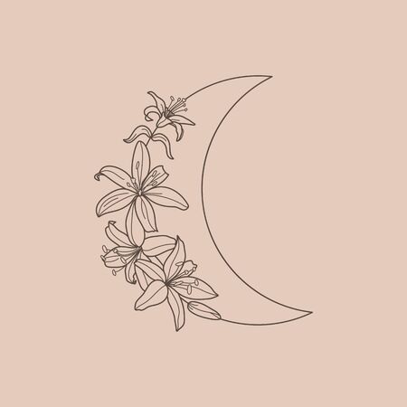 Crescent moon of Lily flowers in a trendy minimal linear style. Vector floral outline icon. Tattoo design,  wedding invitation, greeting card Vectores