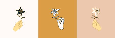 Set of Female Hand  in a minimalist simple linear style. Vector emblems and Badges with a woman's hand and Lily flowers. Feminine icon for Studio a nail and hair salon, Spa Vectores