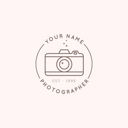 Linear  of the photographer in a trending minimal linear style. Round emblem the camera. Vector Abstract symbol