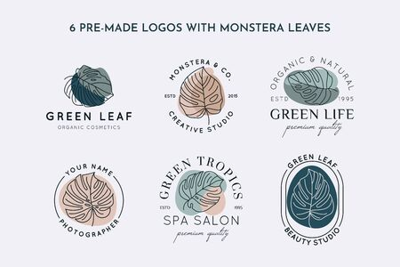 Collection of Monstera leaf  design template in simple minimal linear style. Vector Exotic tropical emblem with leaves and abstract shapes for Beauty Studio, SPA salon, organic natural cosmetics