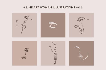 One Line drawing of set Woman's Face. Continuous line Portrait of a girl In a Modern Minimalist Style. Vector Illustration. For printing on t-shirt, blogger's, beauty Salons, Posters and other things Illustration